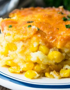 Off the charts delicious, this Paula Deen Corn Casserole is one of my family's favorite side dishes EVER! A Creamy Corn Casserole that's perfect with almost everything and just may become the most frequently demanded dish at your table! Paula Dean Corn Casserole, Baked Creamed Corn Casserole, Creamy Corn Casserole, Vegetable Casserole, Recipe For Corn Casserole, Paula Deen Squash Casserole, Corn Casserole Jiffy, Cheesy Corn Bake Recipe, Paula Deen Breakfast Casserole