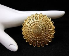 """Vintage Gold Tone Filigree Scarf Clip 1 3/4"""" D Very Nice! $16.00 SOLD"""