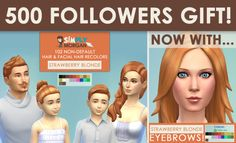 ** STATUS tested, great addition - by Simply Morgan - Non-Default Strawberry Blonde Hair & Eyebrows for All of Your Sims