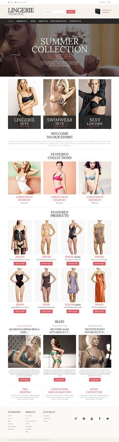 Lingerie online store #Shopify #template. #themes #business #responsive #webshop