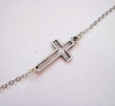 Sideways Cross Necklace, Silver Cross Jewelry, Off side from the center, by RobertaValle