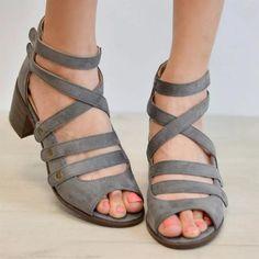 Women Multi-Strap Heeled Back Zipper Sandals Spring Sandals, Blue Sandals, Heeled Sandals, Chunky High Heels, Low Heels, Fall Shoes, Peep Toe Heels, Strap Heels, Sock Shoes