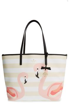 Yes, to everything flamingo this season | Kate Spade baby bag.