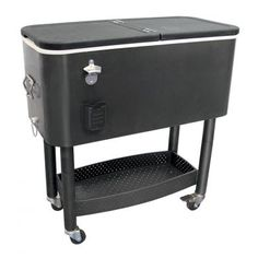 Update International 65 Quart cooler carts are ideal for catering, parties and most outdoor events. Hinged lid opens on both for easy access. Features a removable S/S bottle opener, cap catcher and drain plug. Locking casters hold cooler in place. Deck Cooler, Cooler Cart, Body Cooler, Cooler Stand, Cooler Box, Wooden Cooler, Cooler Reviews, Rolling Cooler, Portable Bar