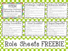 Growing a STEM Classroom: STEM Challenges ~ FREE Student Role Sheets!!!