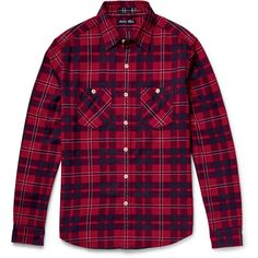 Alex Mill Checked Cotton-Flannel Shirt (4.005 CZK) via Polyvore featuring men's fashion, men's clothing, men's shirts, men's casual shirts and burgundy