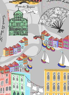 Venice illustrations by Suzanne Washington for luggage