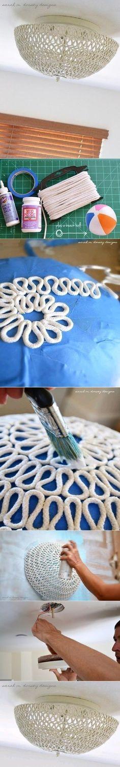 Lampara en soga. Te traemos un tutorial de cómo hacer una lámpara solo usando algunos materiales accesibles. http://wp.me/p1ytFq-De