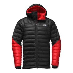 The North Face - Summit Hooded Down Jacket - Men's - Tnf Black/Fiery Red Men's Coats And Jackets, Jackets For Women, Winter Jackets, Tactical Wear, Summit Series, Outdoor Wear, Jacket Style, Hoodie Jacket, The North Face