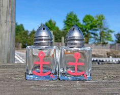 Coral Anchor - Hand Painted Salt & Pepper Shakers 'Beach Gift/ Nautical Kitchen/Girly Nautical/Hostess Present Under 10/Beach Wedding Favor'