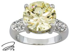 Marilyn Monroe (Tm) Jewelry Collection, 11.40ct Canary Yellow Diamond Simulant & Crystal Ring $34.99