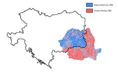 The map of the Austro-Hungarian Empire overlapping the results of the 2014 presidential elections in Romania. An example of the long term impact of past institutions.
