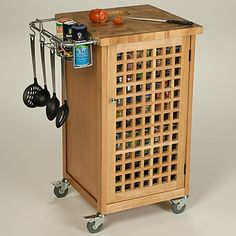 The Chris & Chris Chef Pantry Work Station with Lattice Doors is a commercial quality food preparation and storage center on wheels for your home. Door Storage, Locker Storage, Kitchen Island Cart, Kitchen Carts, Kitchen Stuff, Kitchen Tools, Kitchen Storage, Kitchen Ideas, Kitchen Furniture