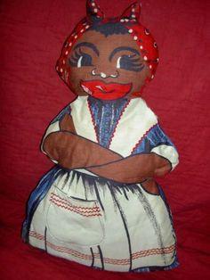 Vintage Aunt Jemima black printed/stuffed cloth mammy doll w/pocket SPRING MILLS Antique Dollhouse, Dollhouse Dolls, Antique Dolls, Vintage Dolls, Aunt Jemima, Sweet Soul, Boy Doll, Black Print, Beautiful Dolls