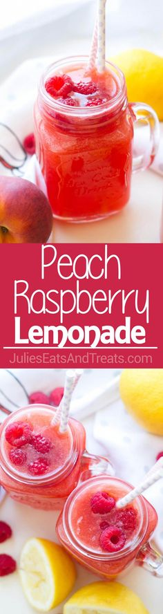 Peach Raspberry Lemonade ~ Homemade Peach Raspberry Lemonade Recipe is made with only and takes less than 15 minutes to put together! Perfect Quick, Easy Beverage for a Hot Summer Day! - Drinks For Healthy Living Fruit Drinks, Smoothie Drinks, Yummy Drinks, Healthy Drinks, Smoothie Recipes, Smoothies, Yummy Food, Beverages, Alcoholic Drinks