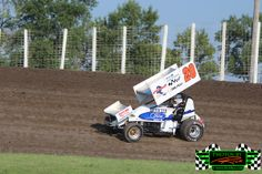 Northern Outlaw Sprint Car Driver Kevin Lawson from Minot ND in his #20 Outlaw Sprint Car at The Legendary Bullring River Cities Speedway in...