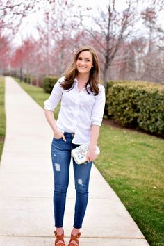 little styled life - classic oxford cloth button down and distressed denim