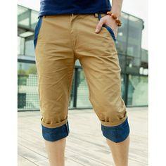 Stylish Narrow Feet Pocket Embellished Color Block Slimming Zipper Fly Men's Capri Pants