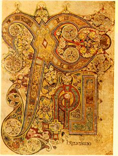 Above is the famous Chi-Rho page of the Book of Kells, Illuminated Script housed at Trinity College (folio 34r) which introduces St. Matthews account of the nativity.