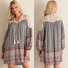 ANNEKE shift dress with lace - MAUVE Border print v-silhouette neckline with tassels shift dress featuring lace on yoke. Lined. Non-sheer. Woven. light weight 100%RAYON NO TRADE, PRICE FIRM Bellanblue Dresses Long Sleeve