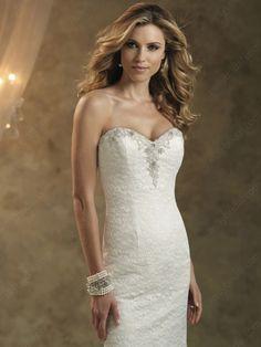 Sheath/Column Sweetheart Lace Satin Sweep Train White Beading Wedding Dresses at Millybridal.com