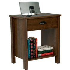 @Overstock.com - Venture Horizon Walnut Finish Nouvelle Nightstand - Spruce up your bedroom with this stylish tall nightstand from Venture Horizon. This nightstand features a beautiful walnut finish and a spacious drawer. This classically designed stand has more than enough room for your nighttime books.  http://www.overstock.com/Home-Garden/Venture-Horizon-Walnut-Finish-Nouvelle-Nightstand/7356841/product.html?CID=214117 $49.99