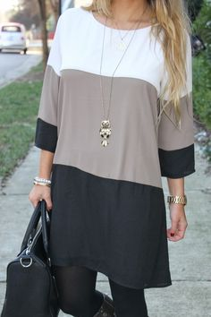 Bedazzles After Dark: Outfit Post: Color Block Shift Dress Fall Outfits, Cute Outfits, Fashion Outfits, Womens Fashion, Fashion Trends, Fashion Clothes, Dresses With Leggings, Tunic Tops With Leggings, Outfit Posts