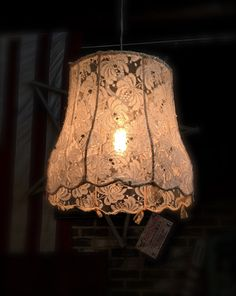 Antique Lace Covered Shade made into Chandelier.  #zencowgirl #antiquelace #lace #chandelier #handmade #oneofakind