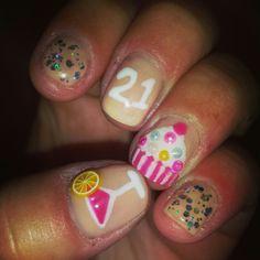 Birthday 22 Cupcake Gel Nail Art Pinterest Nails And