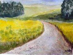 Road Less Traveled, Watercolor 11 x 15, matted in white to 16 x 20.  $125.00 + shipping Golf Courses, Ship, Paintings, Watercolor, Art, Pen And Wash, Art Background, Watercolor Painting, Paint