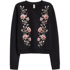 Embroidered Sweatshirt $29.99 (£25) ❤ liked on Polyvore featuring tops, hoodies, sweatshirts, embroidery top, embroidered top, embroidered sweatshirts and ribbed top