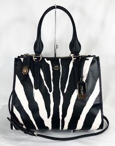 554dc64032af84 Coach Crosby Carryall in Zebra Print Leather - 33569 for sale online   eBay