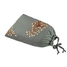 Shoe Pouch  Embroidered Dandelion Stone  Coral * More info could be found at the image url.
