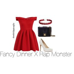 Fancy Dinner X Rap Monster by dambiii on Polyvore featuring Chi Chi, Jessica Simpson, Chanel, bts and rapmonster