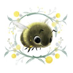 A fun little bee commission from etsy! By Syd's Illustrations Cute Animal Illustration, Cute Animal Drawings, Cute Drawings, Illustration Art, Cute Bee, Bee Art, Whimsical Art, Illustrators, Decoupage