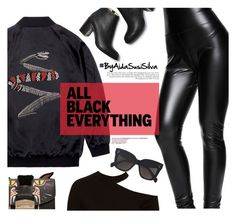 """Monochrome: All Black Everything"" by aidasusisilva ❤ liked on Polyvore featuring Jay Ahr, Sans Souci, Furla, CÉLINE and allblack"