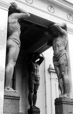 Atlantes. Hermitage museum .St. Petersburg. Russia.