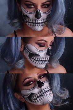 - Makeup Looks Yellow Half Skull Makeup, Halloween Skull Makeup, Clown Makeup, Halloween Makeup Looks, Costume Makeup, Halloween Costumes, Halloween Halloween, Half Skeleton Makeup, Doll Makeup