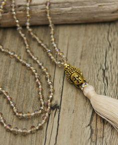 Pale Beaded Buddha Tassel Necklace, Crystal Cut Beads