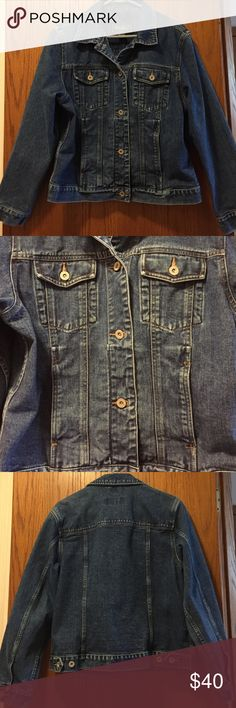 """Eddie Bauer Jean Jacket Like new condition. Heavy denim. 2 breast button pockets and 2 pockets below those. 2 button adjustable waist. 100% cotton. 21"""" from armpit to armpit. 21"""" long. Sleeve 24"""". Not from a smoke free house. Eddie Bauer Jackets & Coats Jean Jackets"""
