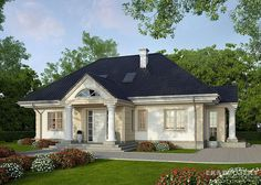 Projekty domów LK Projekt LK&866 zdjęcie 2 Beautiful House Plans, Dream House Plans, Home Building Design, Building A House, Modern Bungalow House, Stucco Homes, Kerala Houses, 3d Home, Ranch Style Homes