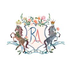 New York artist Happy Menocal created this Custom family heraldry for our wedding. #crest #monogram #wedding