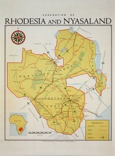 The Federation of Rhodesia and Nyasaland Map - Africa original poster Nursing Student Tips, Nursing Students, Santa Lucia, British Colonial Decor, Civil Engineering, Chemical Engineering, Military Special Forces, Nerd Jokes, New Zealand