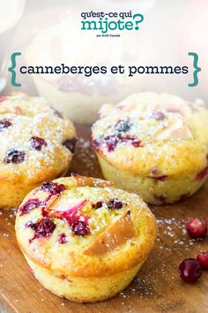 Muffins aux pommes et aux canneberges #recette Pause Café, Brunch, Homemade Muffins, Apple Muffins, Fall Fruits, Vanilla Pudding Mix, Instant Pudding, Cooking Instructions, 20 Min