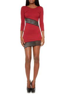 Rainbow Three Quarter Sleeve Bodycon Mini Dress with Sheer Striped Trim
