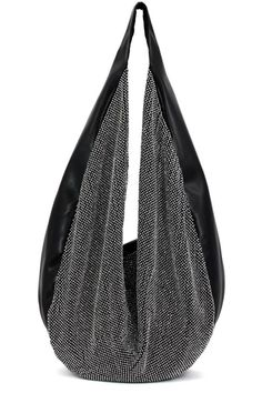 Austrian Crystal Rhinestone Mesh Accent Hobo Handbag - H:7.5 L:13.0 W:7.0 - Gorgeous Crystal Encrusted Mesh Panel - MATERIAL: PU Faux Leather - 1 Compartment And 1 Zipper Pocket - 2 Small Pouches - Zi