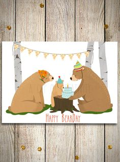 Make some beautiful wishes for the first birthday of a boy/girl with this printed card with a sweet bears family making a party with a cake in the woods!