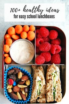 Healthy Meals For Kids I've rounded up more than 100 School Lunchbox Ideas to make packing lunches as easy as possible! Healthy Packed Lunches, Healthy School Snacks, Healthy Meals For Kids, Kids Meals, Healthy Eating, Healthy Recipes, Healthy Lunchbox Ideas, Packed Lunch Ideas, Nutritious Meals