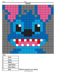 Stitch- Practice Subtraction color by number. Stitch Coloring Pages, Cat Coloring Page, Coloring For Kids, Alphabet Letter Crafts, Letter Tracing, Color By Numbers, Multiplication And Division, Disney Colors, 4th Grade Math