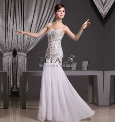 Luxury Ladies Sexy White Chiffon Sweetheart Long Evening Dresses With Beaded